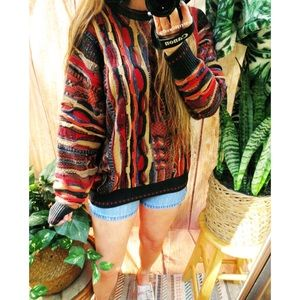 Vintage colorful textured boyfriend sweater 🌿